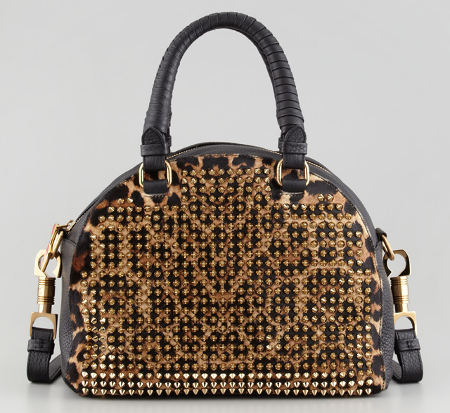 Christian Louboutin Panettone Small Spiked Leopard Bag