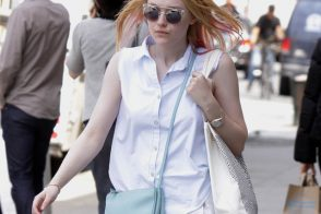 Dakota Fanning carries a light blue Celine Trio Bag in NYC (5)