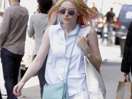 847a910220bd Dakota Fanning carries a light blue Celine Trio Bag in NYC (5)