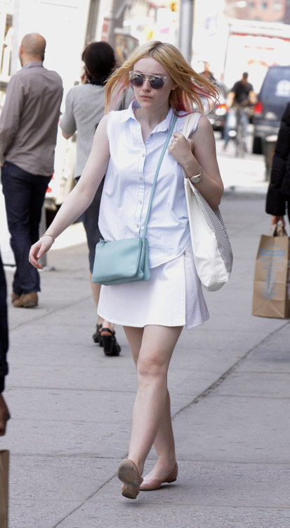 Dakota Fanning carries a light blue Celine Trio Bag in NYC (1)