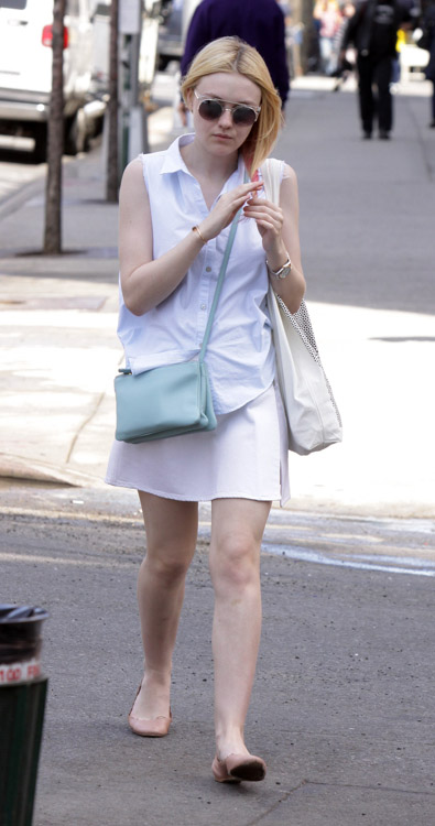 Dakota Fanning carries a light blue Celine Trio Bag in NYC (4)