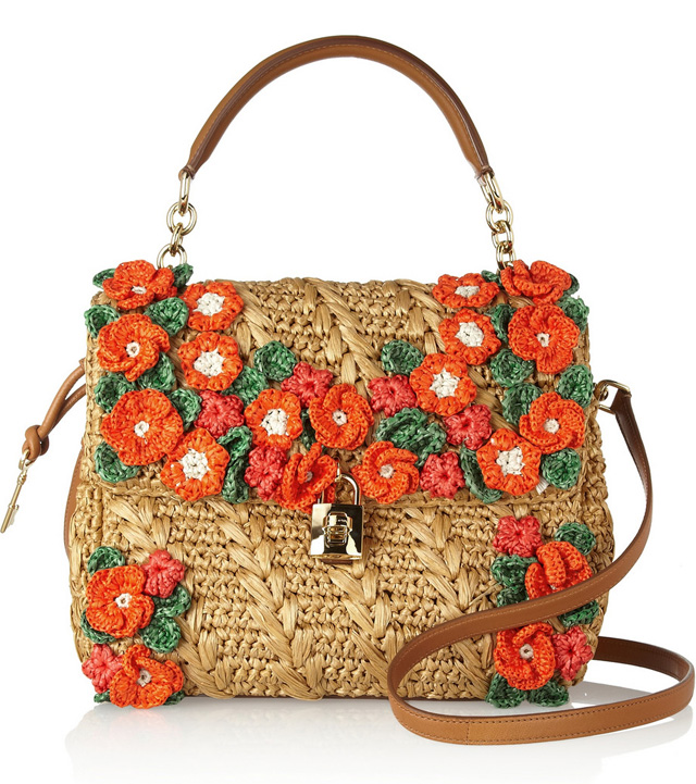 Dolce Gabbana Miss Raffia Flower Bag