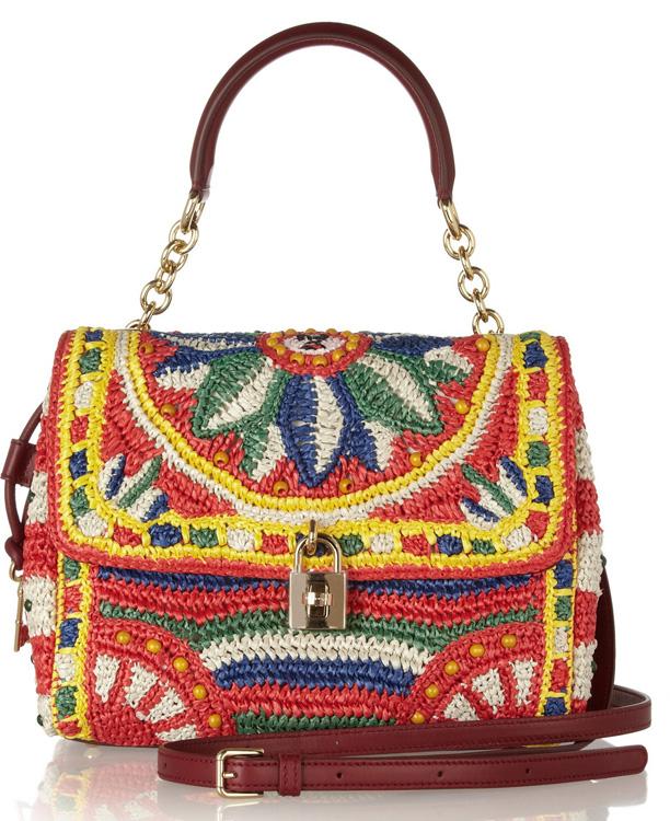 Dolce & Gabbana Miss Dolce Raffia Woven Bag