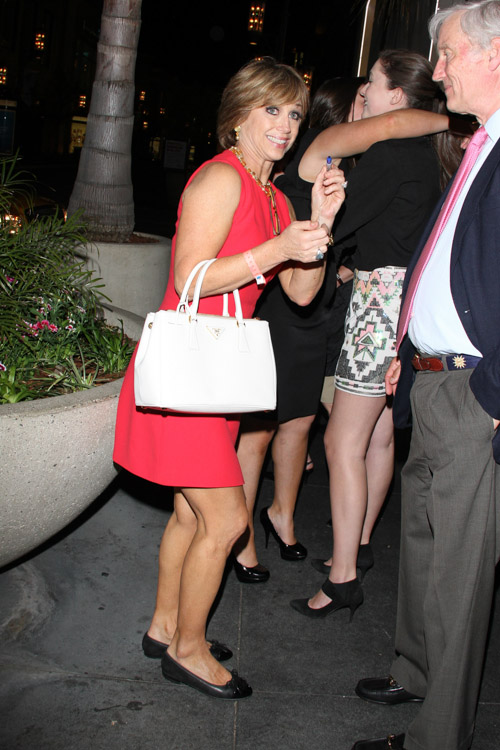 "Dorothy Hamill carries a white Prada Saffiano Luxe Tote to an after-party for ""Dancing with the Stars"" (1)"