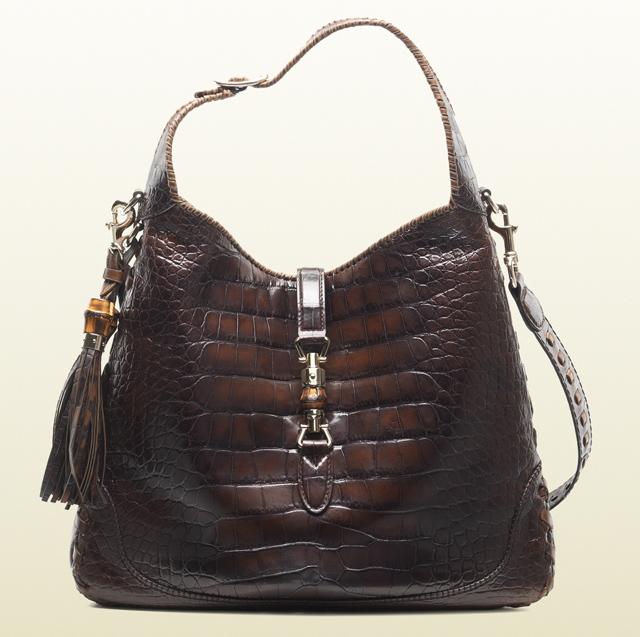 Gucci New Jackie Crocodile Shoulder Bag