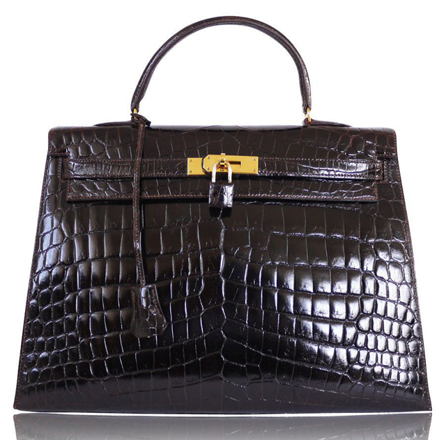 Hermès 1983 Vintage Cocaon Niloticus Crocodile 35cm Kelly Bag