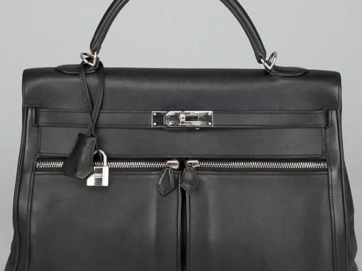 Hermes Black Leather Kelly Lakis 35cm