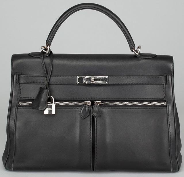 Hermes Black Leather Kelly Lakis 35cm