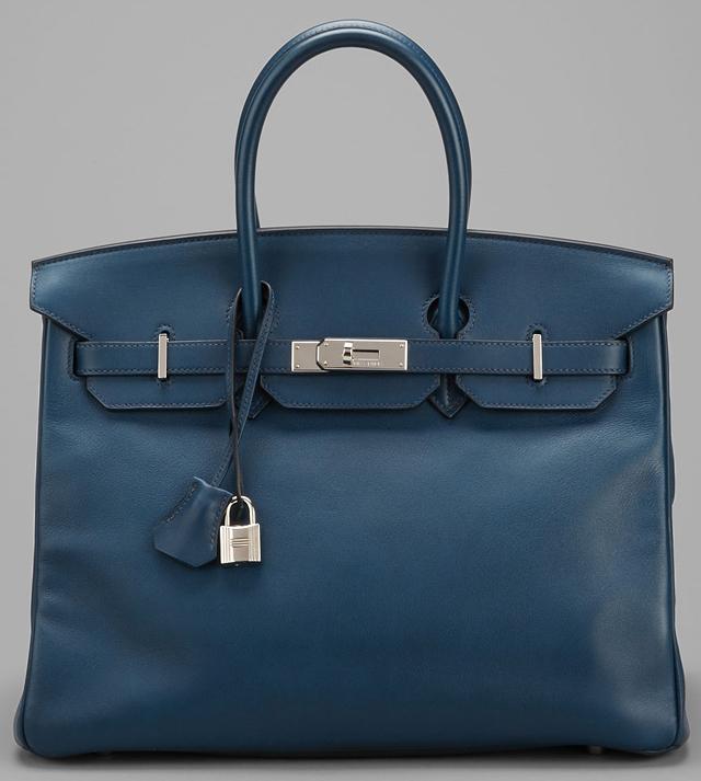 Hermes Blue Swift Chamonix Leather 35cm Birkin Bag