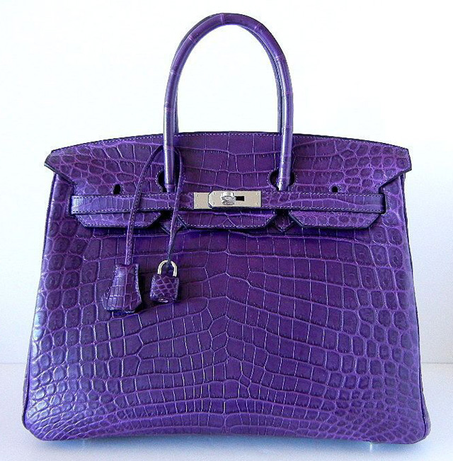 Hermes Matte Amethyst Crocodile 35cm Birkin Bag