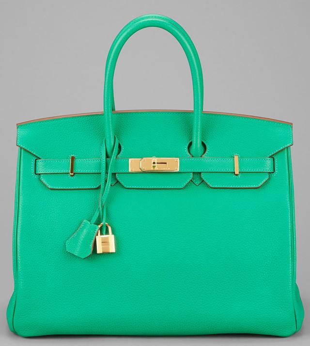 Hermes Menthe Togo Leather 35cm Birkin Bag