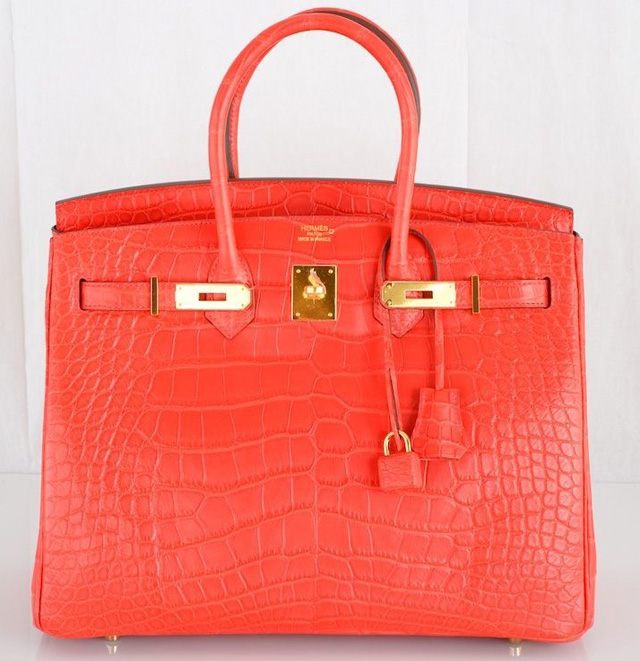 Hermes Red Geranium Matte Alligator 35cm Birkin Bag