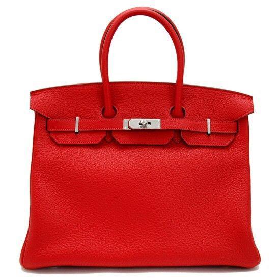 Hermes Rouge Casaque Taurillion Clemence 35cm Birkin Bag