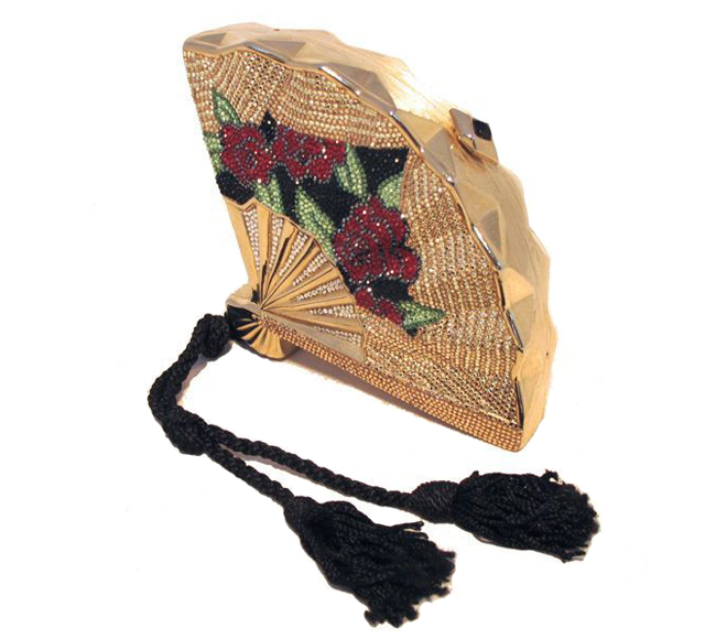 Judith Leiber Vintage Swarovski Crystal Gold Fan Minaudiere Evening Bag