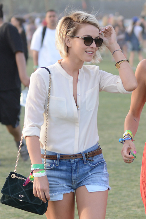 Julianne Hough Roger Vivier Prismark Shoulder Bag Coachella