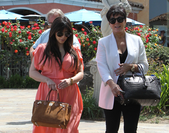 kelly purse - Kim Kardashian and Kris Jenner double up with rare Hermes Birkins ...