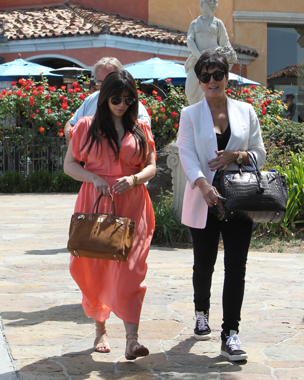 Kim Kardashian carries an Hermes Grizzly Suede Birkin and Kris Jenner carries an Hermes Crocodile Birkin (2)