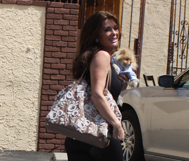 Lisa Vanderpump carries a Valentino Embroidered Flower Tote in LA (3)