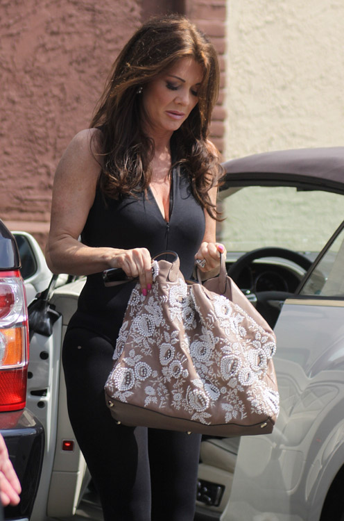 Lisa Vanderpump carries a Valentino Embroidered Flower Tote in LA (2)