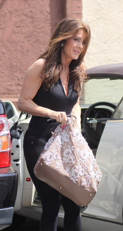Lisa Vanderpump carries a Valentino Embroidered Flower Tote in LA (5)