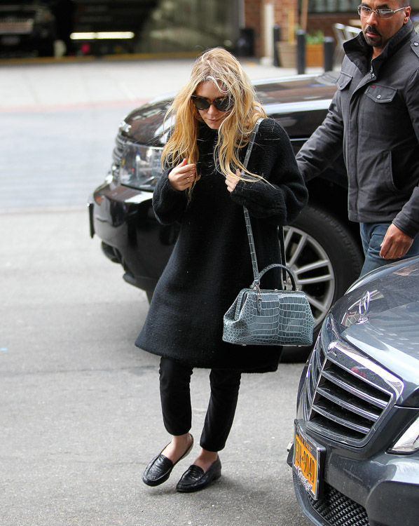 Mary-Kate Olsen carries a The Row Alligator Mini Doctor Bag in NYC (3)