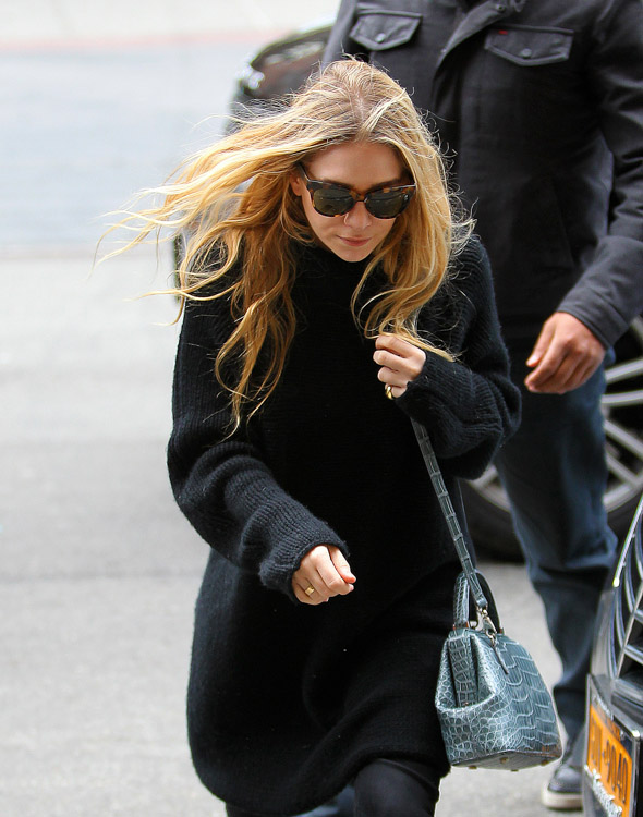 Mary-Kate Olsen carries a The Row Alligator Mini Doctor Bag in NYC (2)