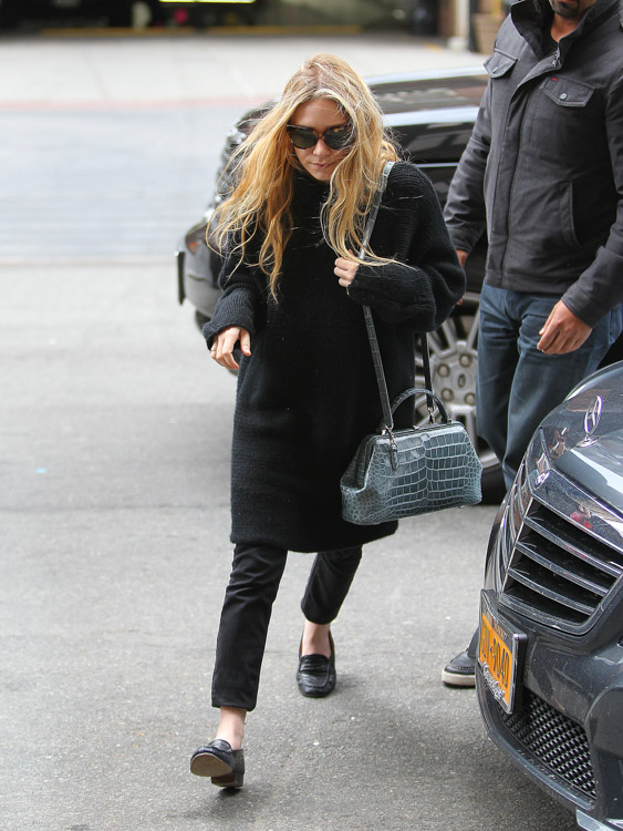 Mary-Kate Olsen carries a The Row Alligator Mini Doctor Bag in NYC (4)
