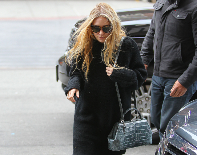 Mary-Kate Olsen carries a The Row Alligator Mini Doctor Bag in NYC (5)