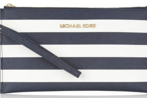 Michael Michael Kors Striped Saffiano-leather Pouch