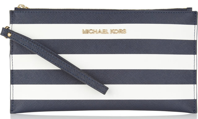 Michael Michael Kors Striped Saffiano-leather Pouch