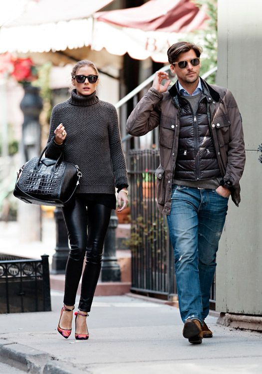 Olivia Palermo carries a black, crocodile-embossed Givenchy Antigona Bag (1)