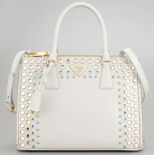 Prada Saffiano Lux Stone-Trim Tote Bag