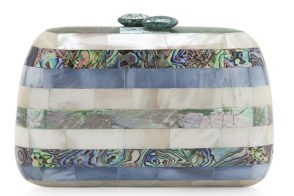 Serpui Marie Fam Mother of Pearl Clutch Blue
