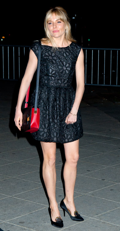 Sienna Miller carries a red and black Delvaux Madame Bag to a Vanity Fair party (1)