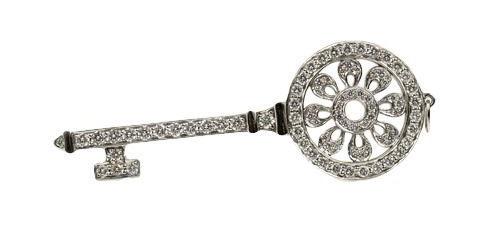 Tiffany and Co Platinum and 1.18ctw Diamond Estate Petals Key Pendant