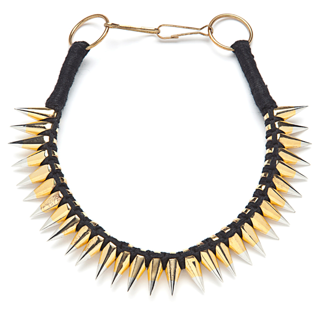 ALC Braided Leather Spike Necklace