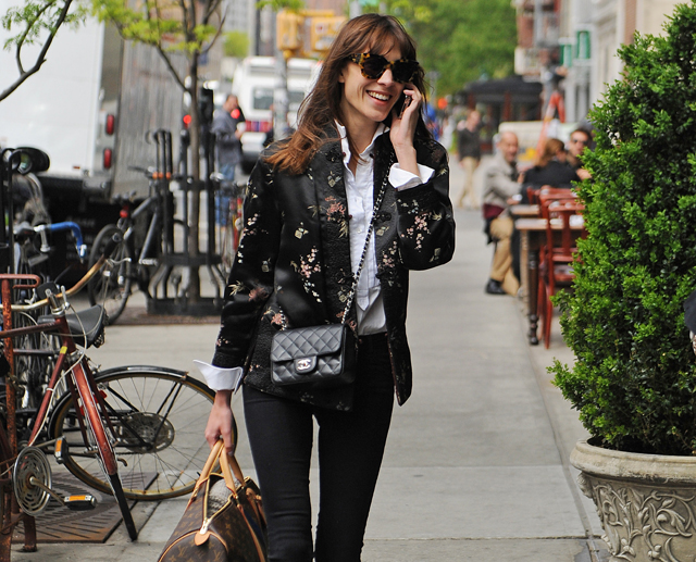 Alexa Chung Carries A Chanel Mini Classic Flap Bag And Louis Vuitton Mon Monogram Keepall