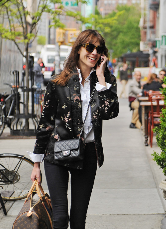 Alexa Chung carries a Chanel Mini Classic Flap Bag and Louis Vuitton Mon Monogram Keepall Bag (1)
