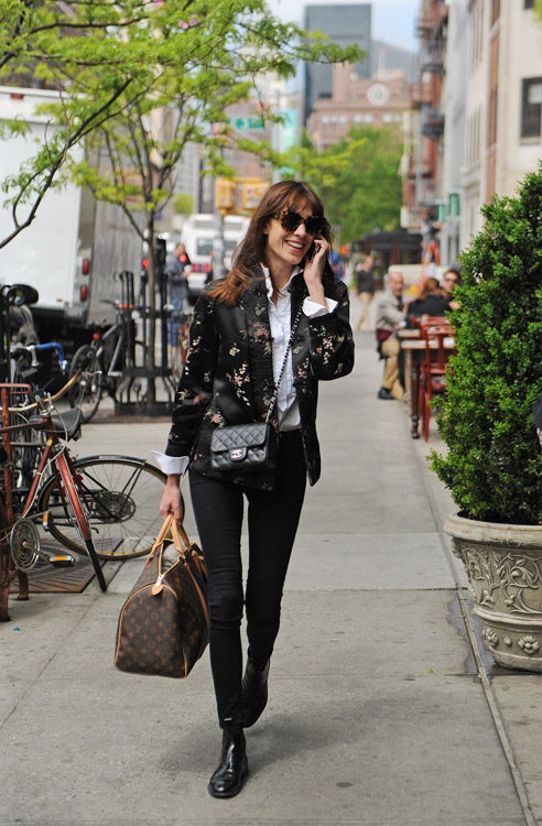 Alexa Chung carries a Chanel Mini Classic Flap Bag and Louis Vuitton Mon Monogram Keepall Bag (2)
