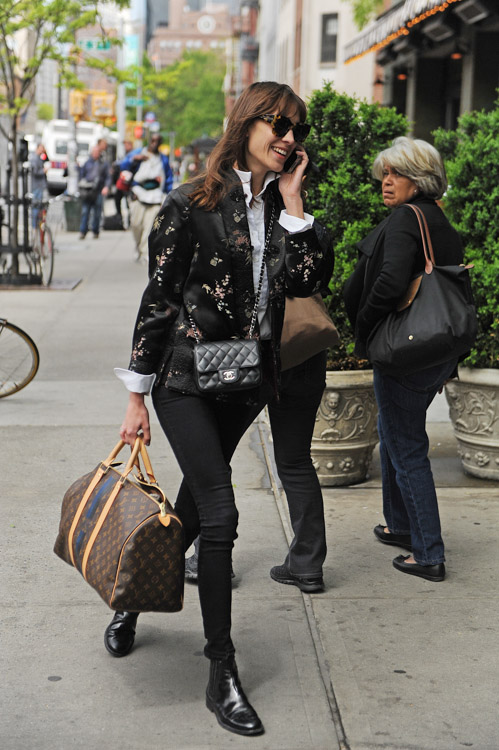 Alexa Chung carries a Chanel Mini Classic Flap Bag and Louis Vuitton Mon Monogram Keepall Bag (3)