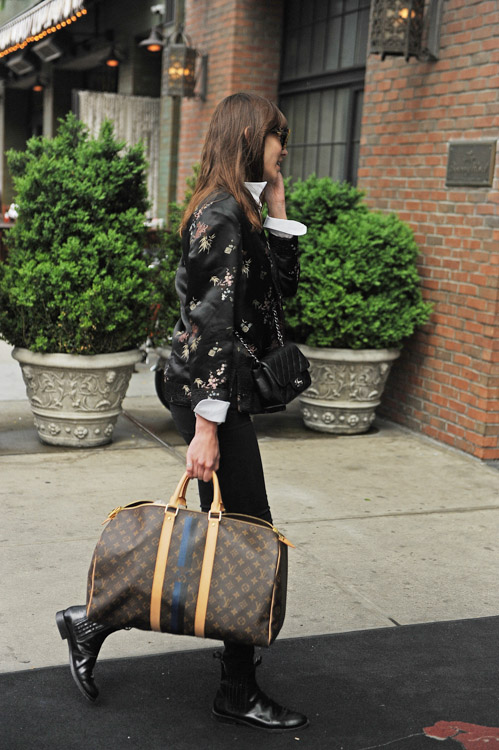 Alexa Chung carries a Chanel Mini Classic Flap Bag and Louis Vuitton Mon Monogram Keepall Bag (4)
