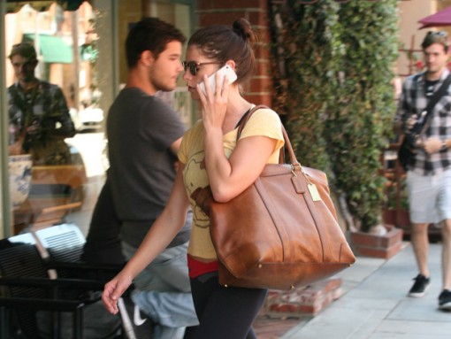 Ashley Greene carries a Coach Bleecker Legacy Weekend Tote (5)