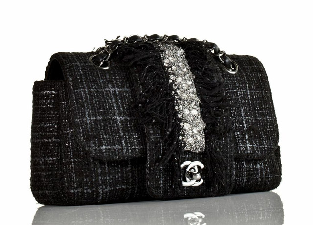 Chanel Tweed and Swarovski Classic Flap Bag