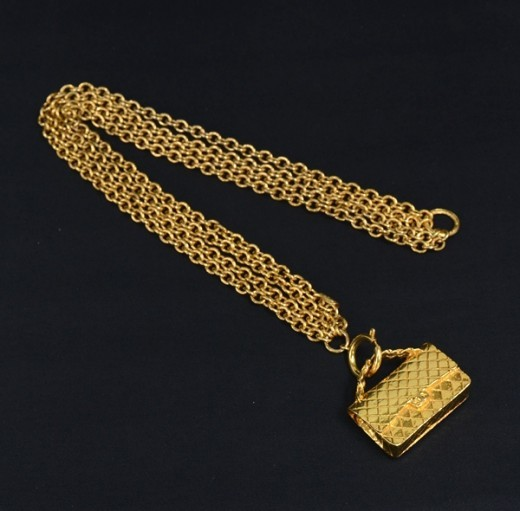 Chanel Vintage Gold Tone 2.55 Motif Necklace