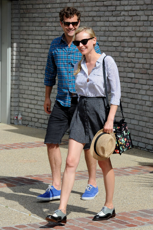Diane Kruger carries a 3.1 Phillip Lim Scout Floral Shoulder Bag (4)