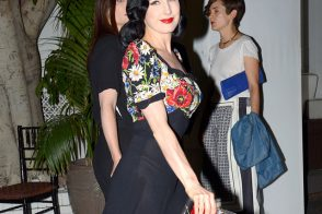 Dita Von Teese carries a Charlotte Olympia Pandora Perspex Box Clutch at Chateau Marmont in LA (5)