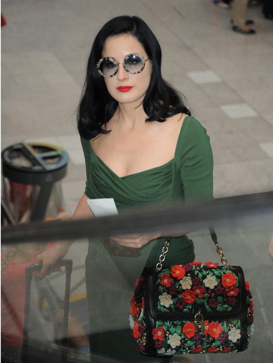 Dita Von Teese Dolce & Gabbana Miss Dolce Flower Satchel-3