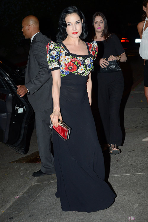 Dita Von Teese carries a Charlotte Olympia Pandora Perspex Box Clutch at Chateau Marmont in LA (1)