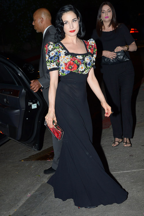 Dita Von Teese carries a Charlotte Olympia Pandora Perspex Box Clutch at Chateau Marmont in LA (2)