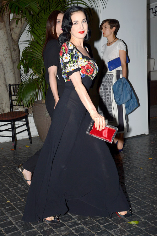 Dita Von Teese carries a Charlotte Olympia Pandora Perspex Box Clutch at Chateau Marmont in LA (3)